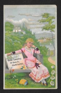 VICTORIAN TRADE CARD Globe Laundry Pretty Girl