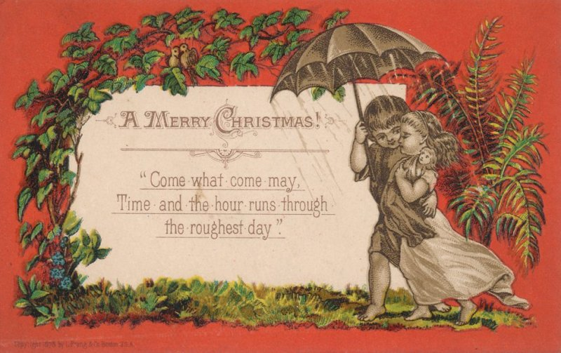 Merry Christmas Greetings Come What May - Copyright 1878 - Victorian Trade Card