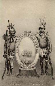 suriname, Indians holding Coat of Arms, Justitia Pietas Fides (1910s) Postcard