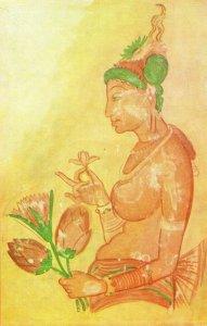 Offering Lotuses Vintage Sigiriya Hindu Religion Indian Postcard