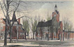 C29/ Coldwater Michigan Mi Postcard c1910 Library Park and Court House