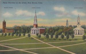 Connecticut New Haven Three Churches On The Green 1948 Curteich