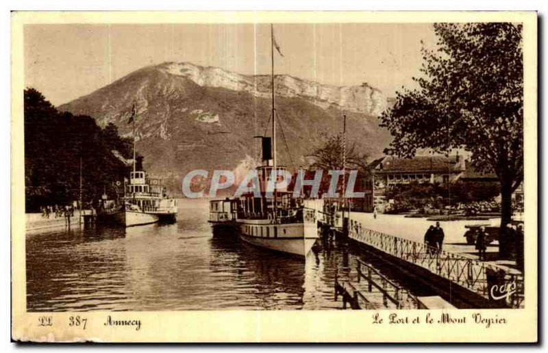Old Postcard Anncey Port and Mount Veyrier Boat
