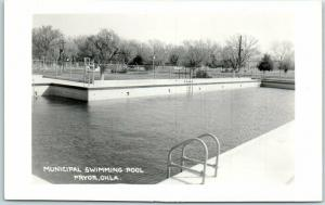 Pryor, Oklahoma RPPC Real Photo Postcard MUNICIPAL SWIMMING POOL c1950s Unused