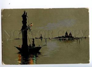 3149010 Art Nouveau SILHOUETTE in Boat VENICE vintage PC