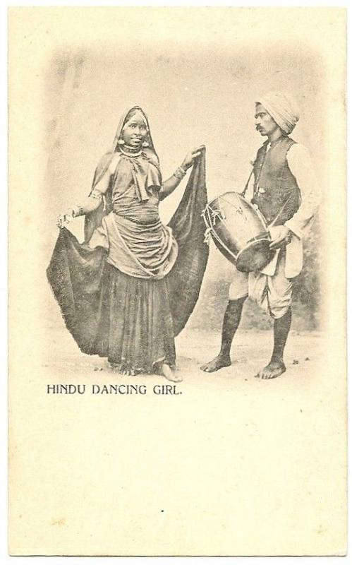 India HINDU DANCING GIRL vintage UB  postcard