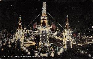 Luna Park at Night Coney Island, New York, USA Amusement Park Unused