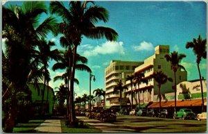 Miami Beach, Florida Postcard Fashionable Palm-Studded LINCOLN ROAD c1950s