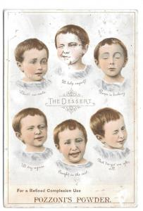 Pozzoni's Medicated Complexion Powder Victorian Trade Card The Dessert Children