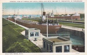 Michigan Sault Ste Marie General View Of Soo Locks 1936 Curteich