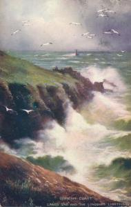 Cornish Coast at Lands End United Kingdom Longships Lighthouse in distance pm190