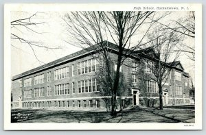 Hackettstown New Jersey~High School~Angled Front & Side~Bare Trees~1930s CT B&W