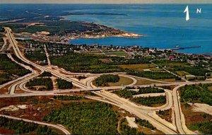 Michigan St Ignace Aerial View Showing Interchange Highways I-75 & U S 2 West...