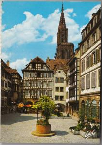 Strasbourg , The Square of the pigletmarket and the cathedral's spire, Postcard