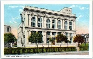New Orleans, Louisiana Postcard ELKS HOME Building / Street View Curteich 1930s