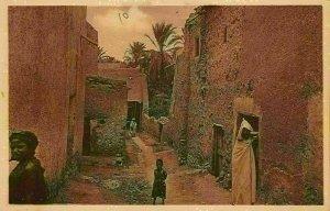 Algeria Bou Saada Une Rue Arabe Street Children Postcard