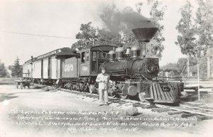 LPS42 Arcadia California Train W. Parker Lyon Engineer Museum Postcard RPPC