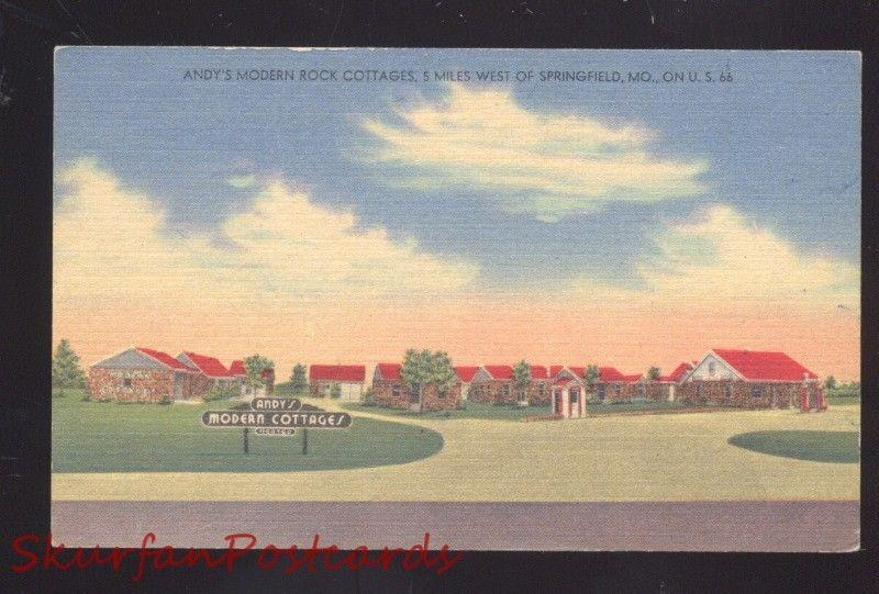SPRINGFIELD MISSOURI ANDY'S MODERN ROCK COTTAGES ROUTE 66 LINEN POSTCARD