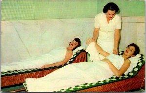 Hot Springs, Arkansas Postcard TYPICAL BATH HOUSE SCENE Ladies / 1953 Cancel