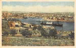 Malta Marsamuscetto Harbour Valletta Boats Panorama Postcard