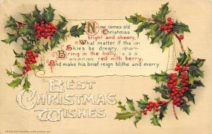 Christmas Post Card Old Vintage Antique Xmas Postcard Postal Used Unknown