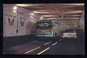 Windsor, Ontario, Canada Postcard, Detroit-Windsor Tunnel, Old Bus & Car,1950's?