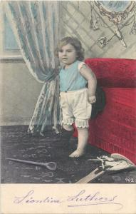 Children topic vintage postcard little baby girl 1906