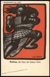 Germany WWI 1914 Berliner Tageblatt Knight Dance Max Richter Artist Card 81136