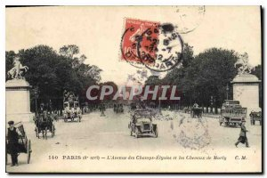 Old Postcard Paris 8 stop the Champs Elysees and Chavaux Marly