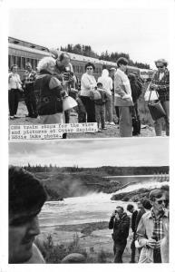 Otter Rapids Ontario~ONR Train Stopped~Tourists Take Pictures~Kodak~1940s RPPC