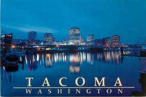 Postcard USA washington D.C. tacoma night view lights river boats city town