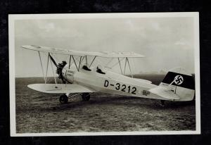 Mint WW2 Germany Luftwaffe RPPC Postcard Heinkel He 72 Biplane Fighter on Ground