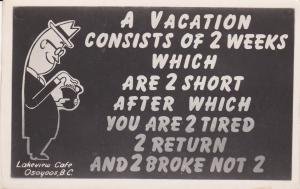 Vacation Poem , Lakeview Cafe , OSOYOOS , B.C. , Canada , 30-40s