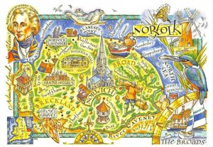 Norfolk Map Postcard, Norwich, The Broads, Sandringham, Great Yarmouth, Diss BZ2