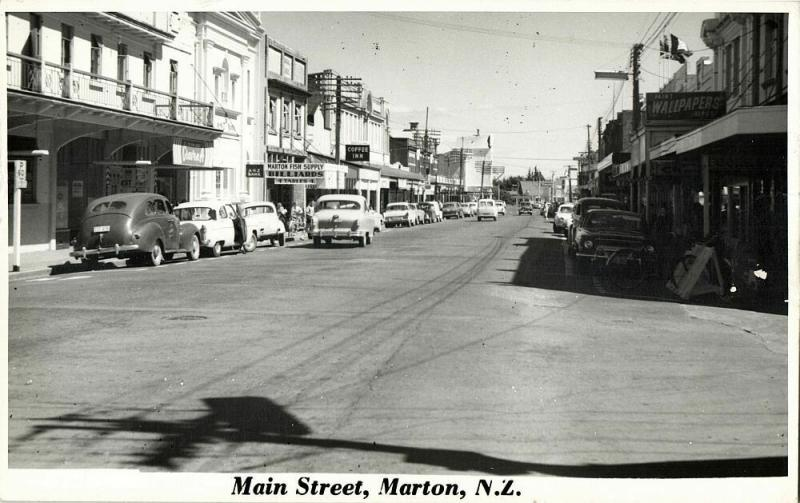 new zealand, MARTON, Main Street, Cars (1950s) RPPC