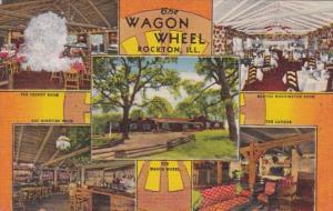 Illinois Rockton Wagon Wheel Restaurant 1950 Curteich