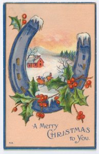 Christmas Snowy Horseshoe Holly Framing Country Church Scene Embossed Postcard