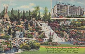 Waterfall and Rock Gardens in Olson Park, Surrounding Olson Rug Company facto...