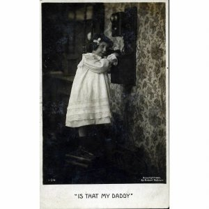 Bamforth & Co. Real Photograph Postcard 'Is that my daddy?'