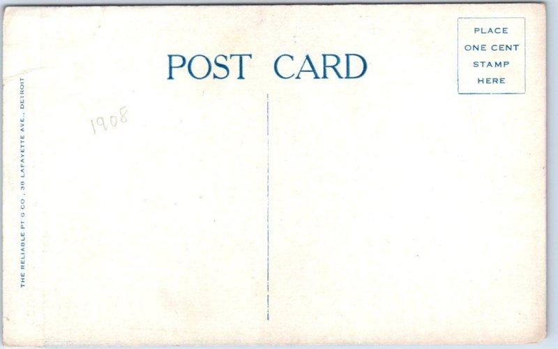 1910s Detroit, Michigan Postcard Buffet, HOFBRAU HAUS Bar Interior View UNUSED