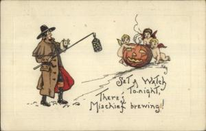Halloween - HBG Griggs Cherubs Fairiers w/ JOL c1910 Postcard