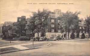 NORTHFIELD, MN Minnesota  DAVIS HALL~40's CARS  Carleton College  1944 Postcard