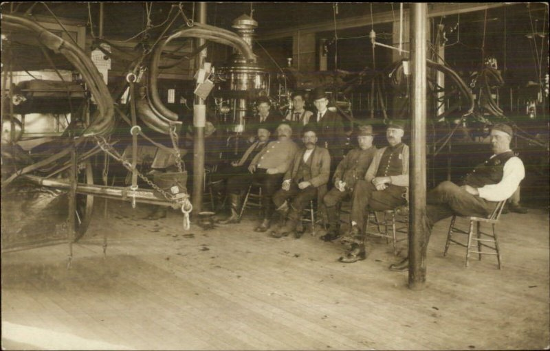 Fire Station Interior Firemen Equipment Gloucester MA (On Back) ++RPPC c1910