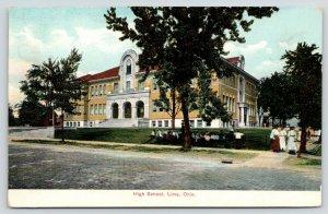 Lima Ohio~High School~Ladies on Corner~Kids on Fence & Lawn~Cobblestone~c1910