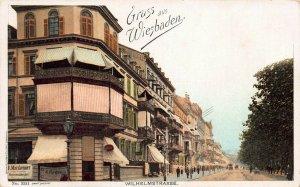 Wilhelmstrasse Scene, Greetings from Wiesbaden, Germany, 1907 Postcard, Unused