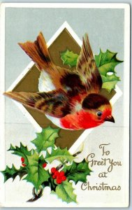 1912 Holiday Embossed Postcard Colorful Bird To Greet You at Christmas
