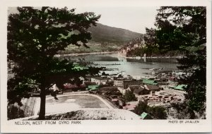 Nelson BC west from Gyro Park Swift's AM Green J. Hallen Real Photo Postcard F65