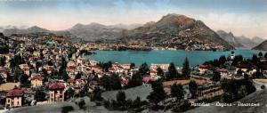 Vintage Panoramic Real Photo Hand Tinted Postcard, Paradiso Lugano OS26