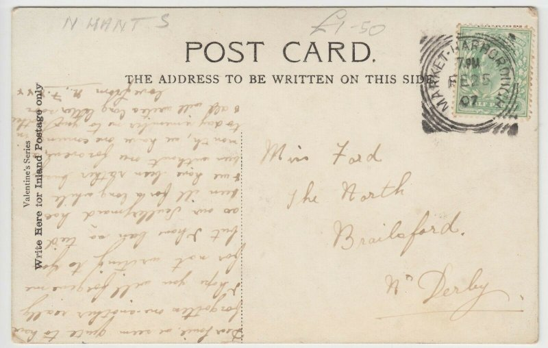 Northamptonshire; Rushton Hall PPC By Valentines, 1907, To Miss Ford, Brailsford