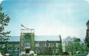 Belleville Ontario~Albert College~United Church~1950s Cars~Postcard